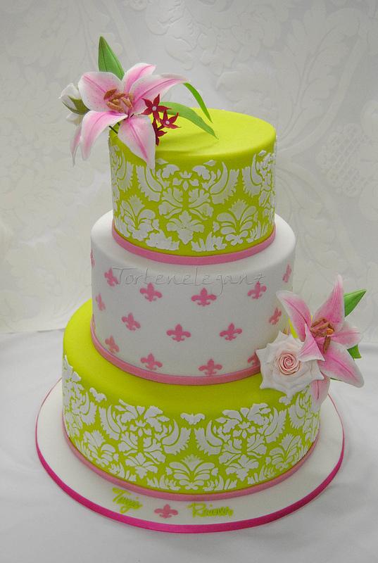 Limetten Grün & Pinke HZ Torte mit Zuckerlilien, Zuckerrosen & Damask...