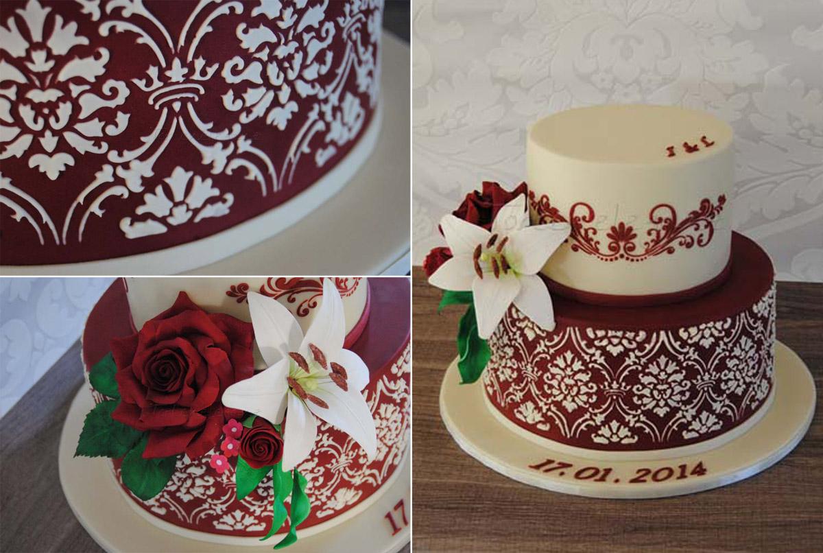 Hochzeitstorte Rose Lilie Stencil Torteneleganz