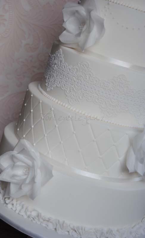 Weiße Hochzeitstorte mit Spitze und Wafer Paper Rosen - TortenEleganz