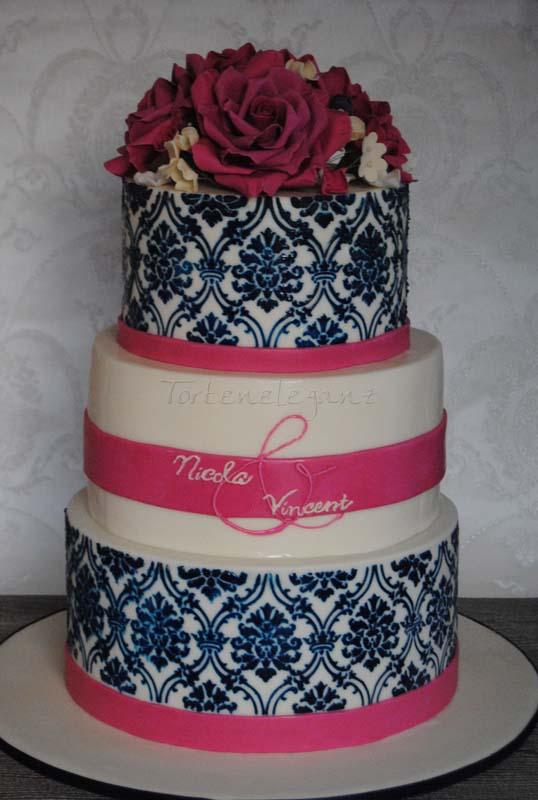 Damask Hochzeitstorte Rosen Bouquet Mitternachtsblau Und Barentone