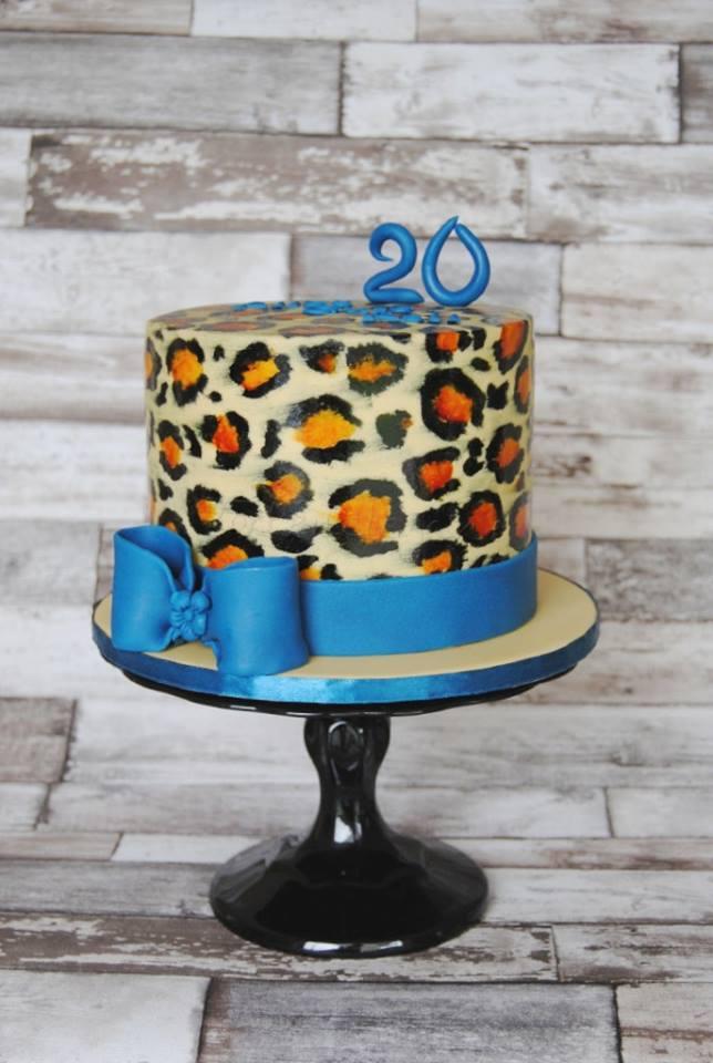 Leoparden Torte Kuchen Blau Schleife Malen Geburtstag