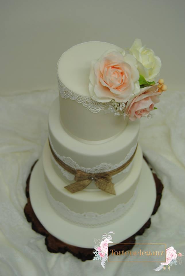 Rustikale Vintage Hochzeitstorte 3 Stockig Von Oben Torteneleganz