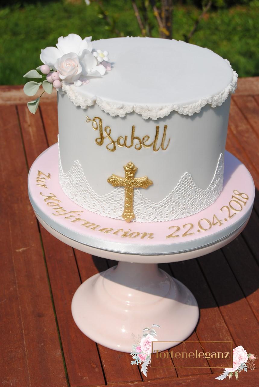 Konfirmation Torte Madchen Mit Gold Torteneleganz