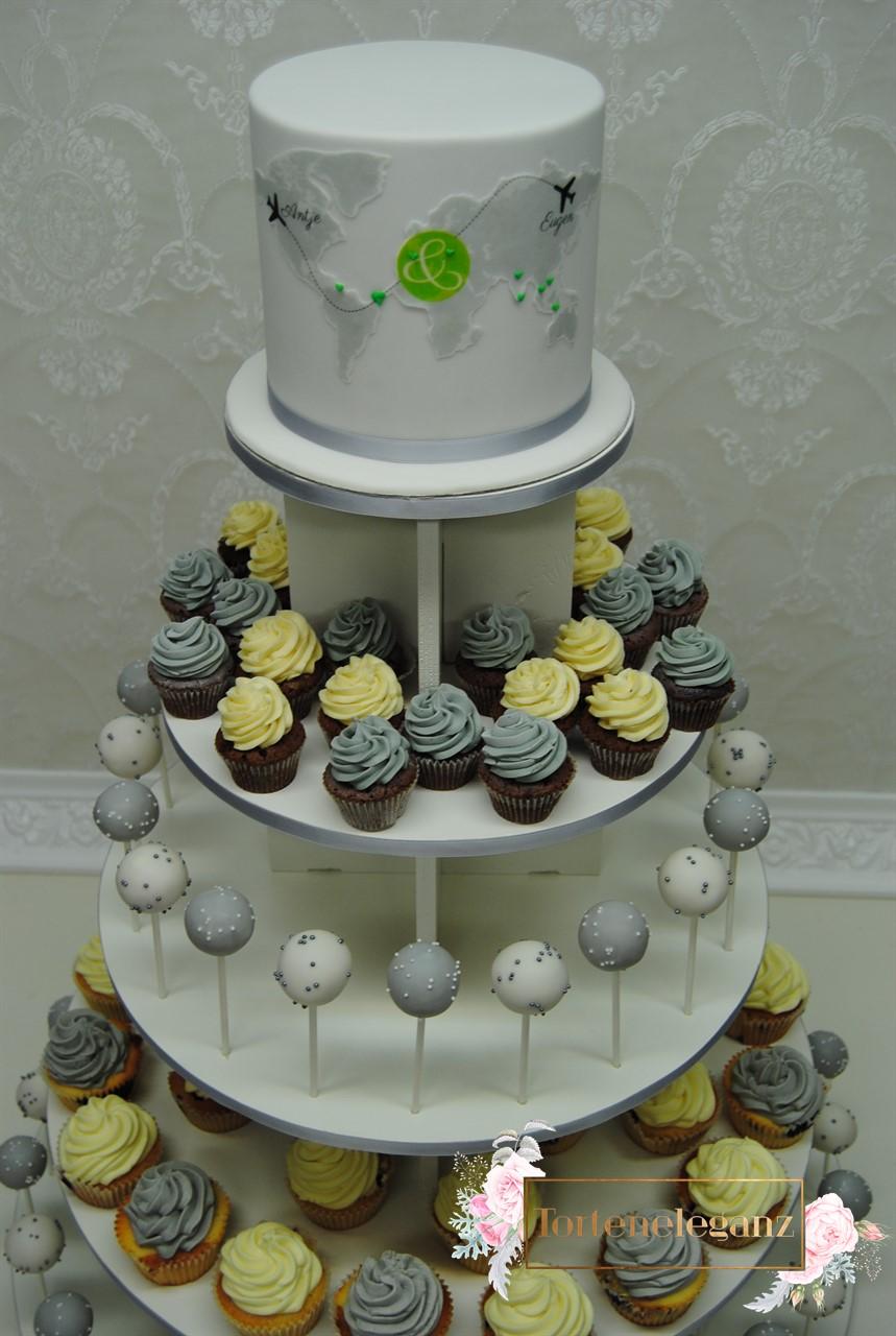 Weltreise Hochzeitstorte Mit Cakepops Und Cupcakes Torteneleganz